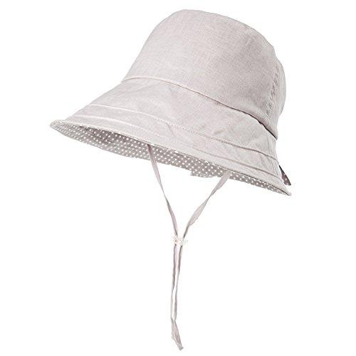 Comhats Damen Faltbarer Sommerhut Sonnenhut UV 50+ mit Kinnriemen Schutz Grau