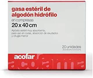 ACOFAR - ACOFAR GASA ESTERIL 20X40 20UN: Amazon.es: Salud y ...