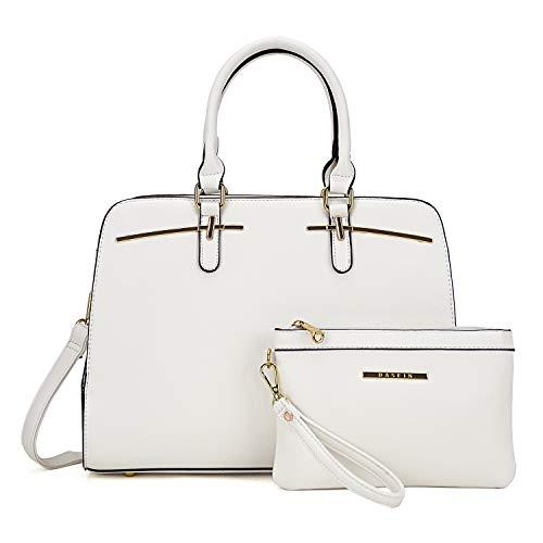 MMK Fashion women's Handbag~ Top Pad Lock Satchel handbag Soft vegan Leather 2 Pieces Tote bag Hobo purse (XL-18-8043-WT)