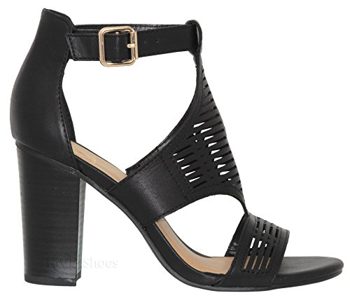 Toe Heel Shoes Sandal Open Allblack Chunky Women's f MVE Out Cut tfqOw