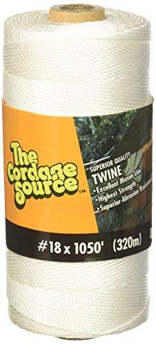 Cordage Source 82 No.18 Twisted Nylon Twine, 1050-Feet, White