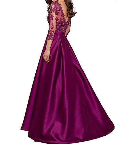 Scuro Abito Sera scollo 3 V a Donna 4 Elegante Vestito Viola Qiuqier Lungo manica Da a Znzq40B