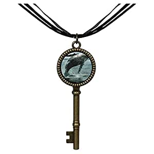 Chicforest Bronze Retro Style Humpback Whale Over Ocean Jewelry Vintage Key Pendant