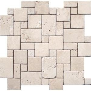 MS International 12 In. x 12 In. Ivory Mini Versaille Pattern Travertine Mosaic Floor & Wall Tile