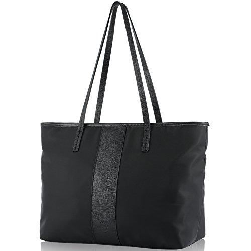 Women Leather Shoulder Bag, Fioritura Lightweight Tote Bag Nylon Handle Bag Casual Handbag - Black