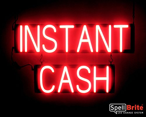 SpellBrite Ultra-Bright INSTANT CASH Sign Neon-LED Sign (Neon look, LED performance)