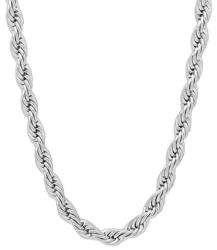 The Bling Factory 4mm Rhodium Plated French Rope Chain Necklace, 30