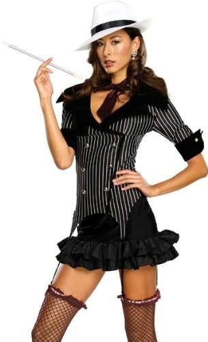 Secret Wishes  Gangster Doll Costume, Black, -