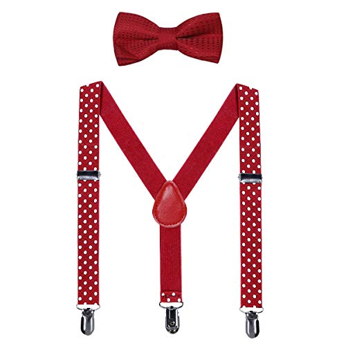 Kids Suspender Bow Tie Sets - Adjustable Braces With Bowtie Gift Idea for Boys and Girls by WELROG (Red Polka dot, 31Inches (7 Years to 5 Feet Tall)) ()