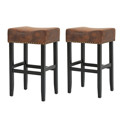 (Christopher Knight Home 300876 Chantal Bonded Leather Studded Accent Bar stools (Set of 2) (Patina Brown),)