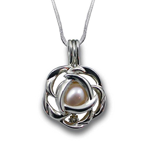 Pearlina Cultured Love Pearl Oyster Necklace Set Silver tone Rose Cage w/ Stainless Steel Chain (Cultured Pearl Gemstone Shell Necklace)