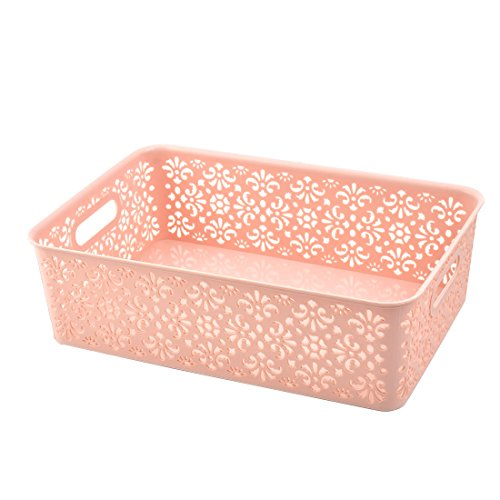 uxcell Plastic Home Rectangle Hollow Out Makeup Sundries Storage Box Basket Light Pink