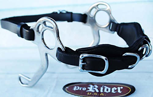 PRORIDER Horse Saddle Black Adjustable Leather Bitless English Western Hackamore 35H14