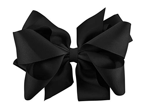 Extra Large Bow Clip and Headbands for Newborn, Baby and Little Girls. Includes Free Interchangeable Headband, Black, 0 month - 12 Years