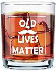Old Lives Matter Whiskey Scotch Glass 10 oz, Funny Birthday or Retirement Gift for Senior, Old Fashioned Whiskey Glass Gag Gift for Dad, Grandpa