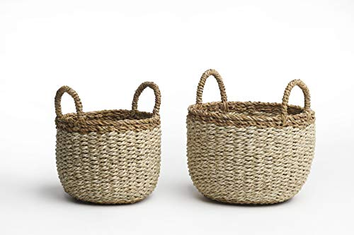 Fab Habitat Seagrass Storage Basket Set - Wicker Pattern Baskets, Strong Handles - Organizer for Blankets, Towels, Pillows, Toys, Laundry, Baby, Kids, Home Décor - Dakoro - 2 Set (Baskets Wicker Round)