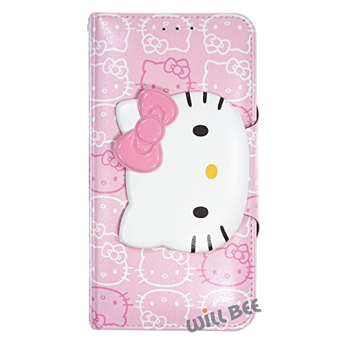 Galaxy S6 Edge Plus Case HELLO KITTY Cute Diary Wallet Flip / Synthetic Leather / Anti-Shock [ Samsung Galaxy S6 Edge Plus ] Cover - Button Face Baby Pink