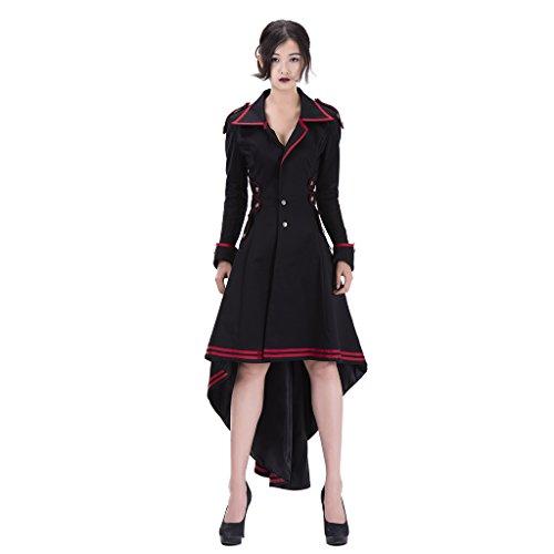Cosplayitem Damen Steampunk Mantel Rock Gothic Kleidung Vampir Kostüm  Halloween Schwarz Schwarz SxctpjCP