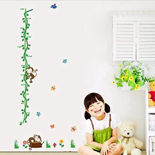 GKAWHH Lindo Mono Animal Pila De Altura Medida Etiqueta De La Pared Kid Bonding Vinilo Wallpaper Fresco Baby Nursery
