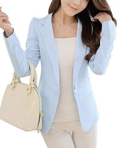 Button Cappotto Giacche Blazer Giacca Slim Business Vintage Ufficio Tailleur Manica Donna Autunno Himmel Blau Bavero Con Primaverile Lunga Fit Monocromo Tasche Da SYrxYOHq