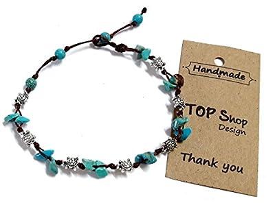 Turtle Steel Stone Blue Turquoise Bead Anklet or Bracelet 26 cm.Handmade for Women Teens and Girls