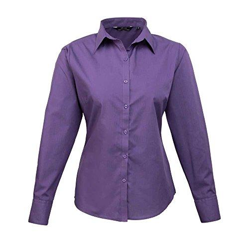 Shirt Long Blouse Work Premier Womens Formal Sleeve Purple Poplin EnvvxPq0