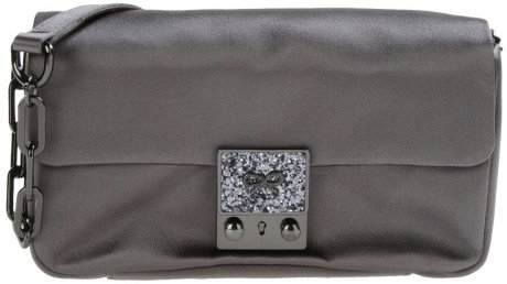 Anya Hindmarch Bag - Gray Carker Mini satin, stingray and suede clutch