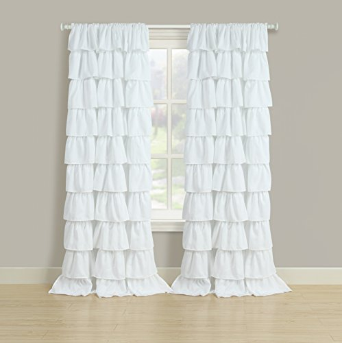 Beatrice Home Fashions RUFPPR84WHT Ruffled Pole Top Panel Pair, White