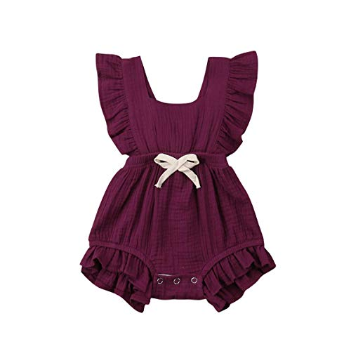C&M Wodro Infant Baby Girl Bodysuit Sleeveless Ruffles Romper Sunsuit Outfit Princess Clothes (Wine Red, 12-18 Months)