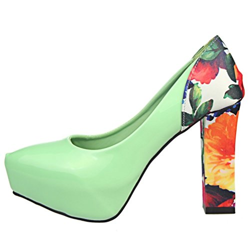HooH Women's Simple Floral Platform Chunky Dress Pump Green I1AHyU
