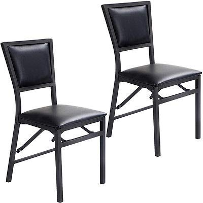 - poppip Set of 2 Folding Dining Chair Metal Frame Home Restaurant Furniture Portable