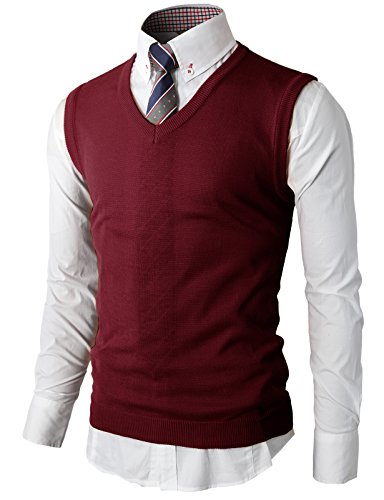 H2H Mens Casual Slim Fit Cotton Cashmere V-neck Vest WINE US XL/Asia 2XL (Cotton Cashmere Sweater Vest)