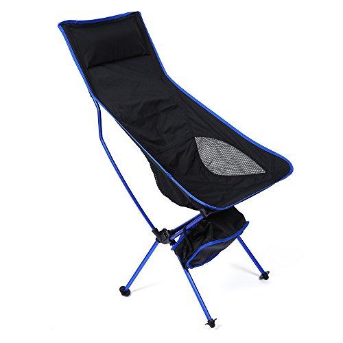 DLune Prolonge Ultralger Chaise Pliante Extrieur Pique Nique Pche Camping Chaises Pliantes Solide Et Durable Confortable Motif De Voyage Dos Haut