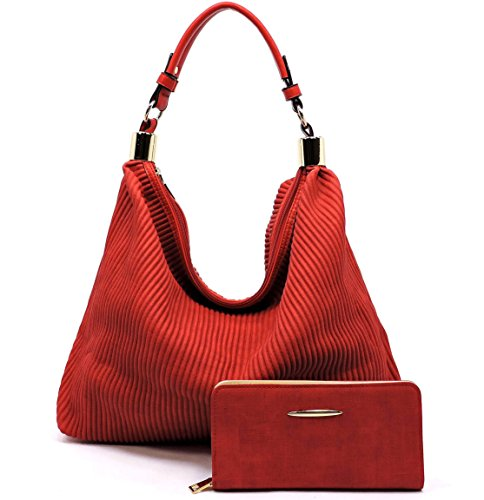 3 Le ZipTop Large Hobo Red compartment Pleated Wallet Miel Style Corduroy x6wXZ6