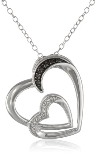Sterling Silver Black Diamond Accent Double Heart Pendant Necklace, 18