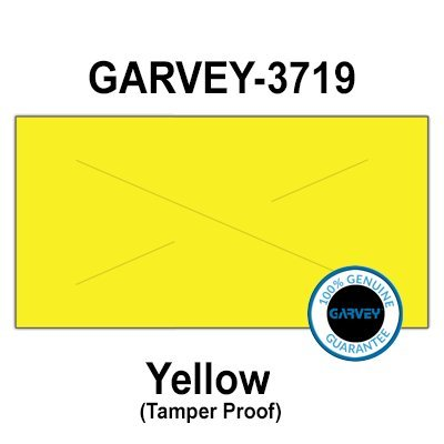 160,000 (2 Cases) GENUINE GARVEY 3719 Yellow General Purpose Labels: 20 ink rollers - tamper proof security cuts