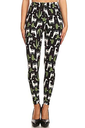 iZZYZX Women's Regular Giraffe Cactus Pattern Printed Leggings - Green White ()