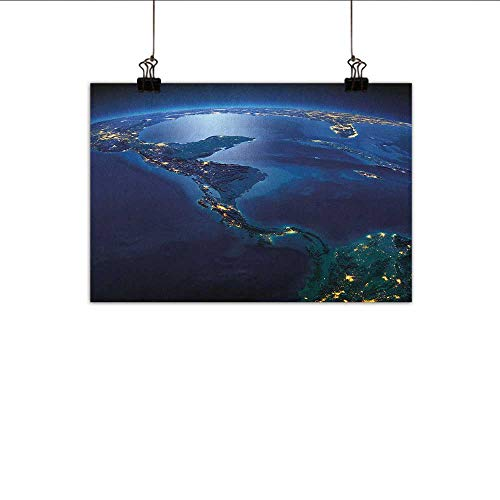 (homehot World Simulation Oil Painting Countries of Central America Earth at Night Costa Rica Nicaragua Pacific Ocean Decorative Painted Sofa Background Wall 24