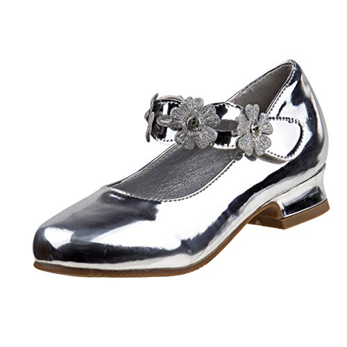 (Josmo Girl\'s Dressy Patent Low Heel Shoe with Glitter and Stone Buckle (Little Kid, Big Kid) (1 M US Little Kid, Silver)