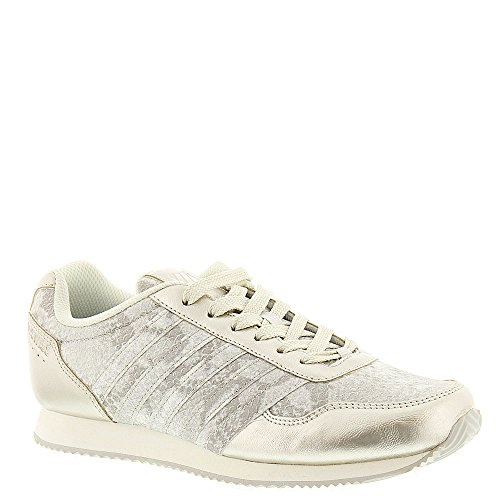 K-Swiss Women's New Haven Snake CMF Fashion Sneaker, Gold/Off White, 7 M US