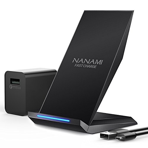 Fast Wireless Charger, NANAMI 2-Coil Qi Wireless Charger Stand [Upgraded with QC3.0 Adapter] for iPhone X, iPhone 8/8 Plus, Samsung Galaxy S9/S9 Plus/Note8/S8/S8 Plus/S7/S7 Edge/Note 5/ S6 Edge Plus by NANAMI