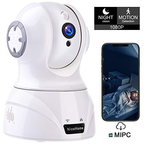 NioeHome Wireless Camera, 1080P WiFi Security IP Camera, Pan/Tilt/Zoom Home Office, Shop, Baby, Pet Monitor with HD Night Vision, Motion Tracker, Auto-Cruise, Remote Monitor- Cloud Service Available