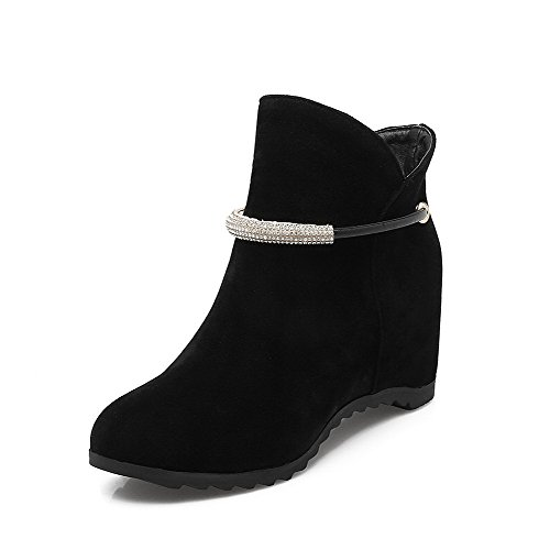 Boots AgooLar Round Toe Kitten Women's Closed on Frosted Black Heels Solid Pull vqg4pq