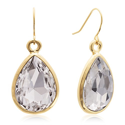 Clear Crystal Pear Shape Dangle Earrings In Yellow Gold Tone - Gold Clear Crystal