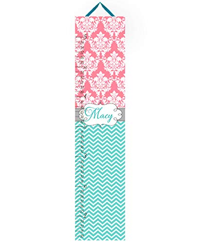 Canvas Growth Chart Coral and Turquoise Teal Chevron and Damask Girls Bedroom Baby Nursery Wall Art Personalized Canvas Growth Chart -