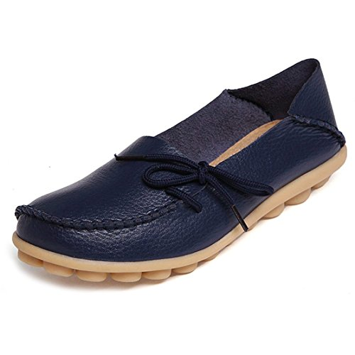 Women's Leather Loafers Flats Slip On Moccasins Casual Driving Shoes(6.5 B (M) US/Label Size 38,Dark Blue)