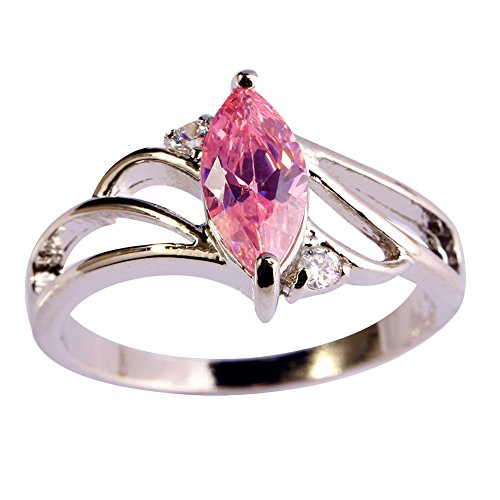 (Psiroy 925 Sterling Silver Created Pink Topaz Filled Marquise Shaped Promise Ring Size 8)