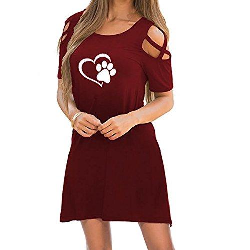 Cross XL Las impresión Mini la Color del frío túnica tamaño Manga Criss de de Mujeres corazón la la Corta de de la del Red Hombro Deep Pata Vestido de de Jahurto ABqSq