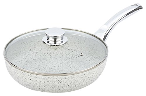 Bisetti BT-38333 Non-Stick Aluminum Stonewhite Frying Pan with Handle, Medium, White