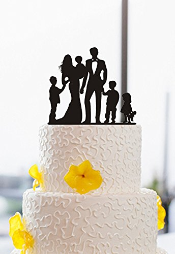 Amazon.com: Family Silhouette Wedding Cake Toppers Bride and Groom ...